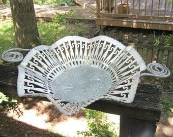 Hammered Aluminum Basket, Open Work Bowl, Farber And Shlevin, Embossed Poinsettia  Bottom, Rolled Handles, Vintage Aluminum Serving Piece