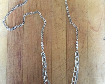 Long Multi Chain Silver Necklace, Bohemian Necklace, Long Necklace, Long Silver Necklace, Chain Necklace, Handmade Necklace, Gift Jewelry