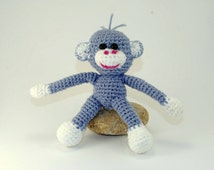 The symbol of the year 2016, The monkey, Soft Toy for Children, Amigurumi Crochet Animals, Soft Doll, Grey Monkey Ornament, Hand Crocheted.
