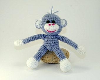 The symbol of the year 2016, The monkey, Soft Toy for Children, Amigurumi Crochet Animals, Soft Doll, Grey Monkey Ornament, Hand Crocheted.