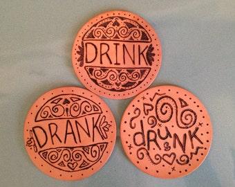 Drink, Drank, Drunk handburned leather coasters