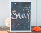 Star Daddy, card for a daddy, you're my star, Dad, shooting stars greeting card,child to a father, father's day card, daddy birthday card