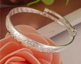 Silver Plated Adjustable Baby Bangle Bracelet