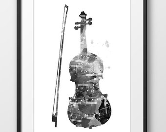 Violin Black and White Print No8, Violin Print Watercolor, Music Wall Art Poster, Music Instrument Print, Violin Decor, Violin Art (A0444)