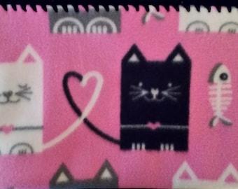 Fleece Cat Blanket Pink with Black Crocheted Edge