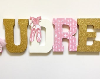 Pink and gold Ballet/ Ballerina Letters