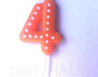 Number 4 Birthday Candles, 4, 40,Numbers, Blue, Green, Orannge, Red, Yellow, Fourth Birthday, Four, Candles, Boy, Girl, Birthday, Polka Dots