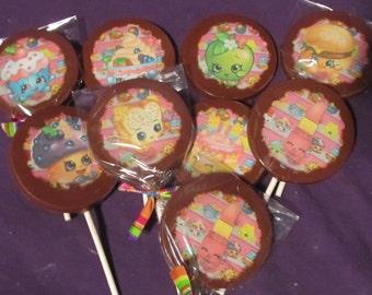 12 Shopkins chocolate lollipops