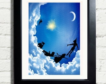 Inspirational Neverland Peter Pan Art Print INSTANT DIGITAL DOWNLOAD 300 dpi Bright Wall Hanging Great For Kids Room