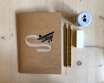 Hand Printed Customised BiPlane Eco Kraft Note and Sketch Book