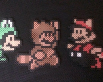 Raccoon, Tanooki, and Frog Mario Bros 3 pixel art bead sprites - You choose one! - As magnets, coasters, or ornaments