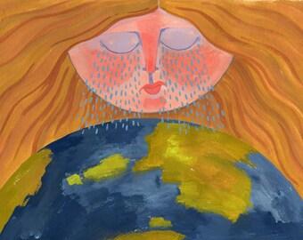 Crying Sun - original gouache illustration