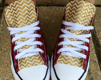 Chevron Converse Shoes Burgundy and Gold