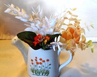 White floral porcelain teapot orange flowers vintage from the 1970's