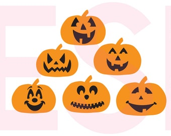Jack 'O' Lantern svg, Pumpkin faces svg, Halloween svg files, SVG, DXF, EPS,  cutting files, Silhouette Studio & Cricut Design space.