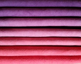 "Hand dyed cotton fat quarters for quilting, gradation of red to purple, ""Plum Preserves"""