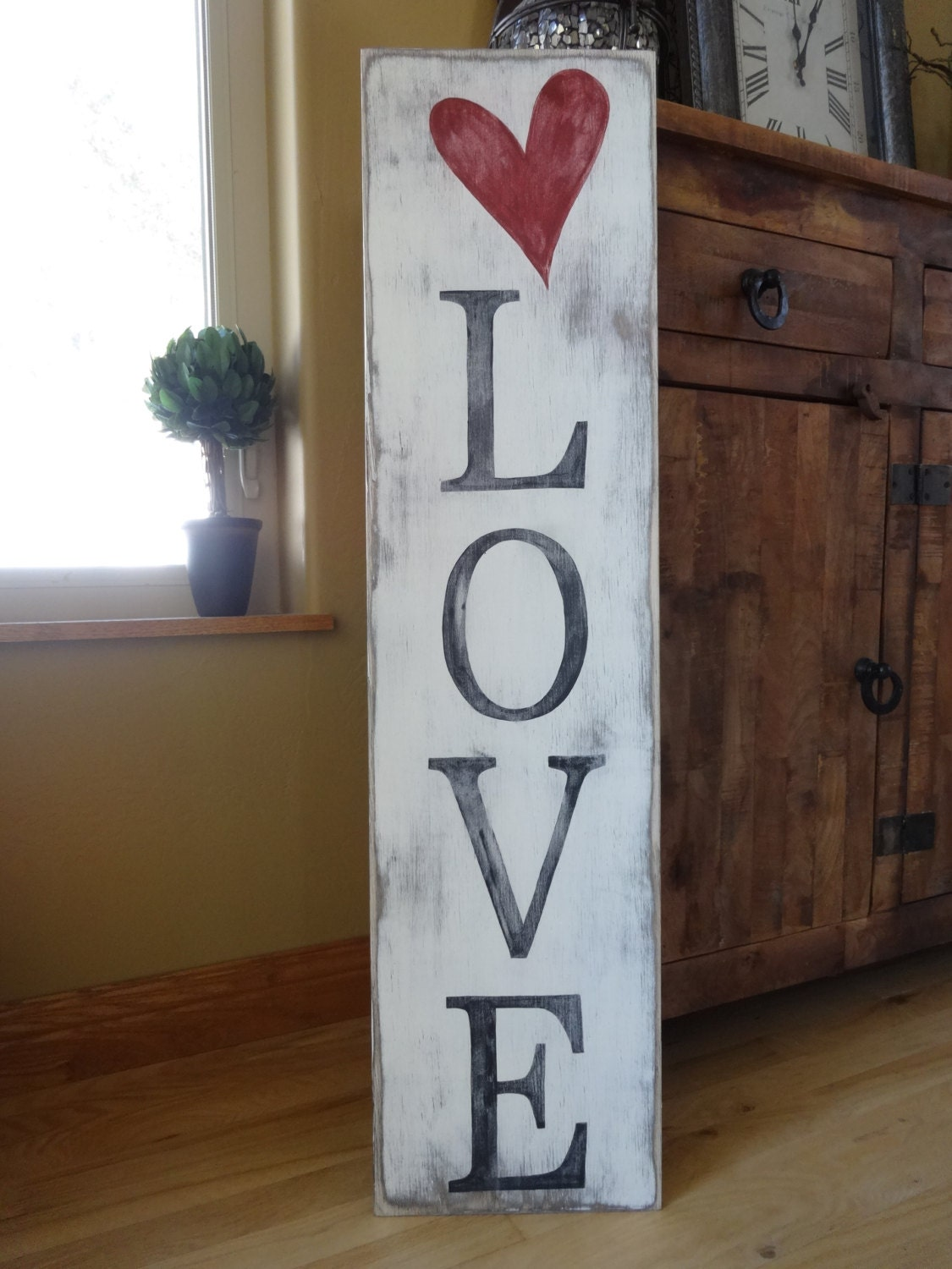 Primitive Valentine's Day Happily Ever After Heart Hand ... |Valentine Hand Painted Wood Signs