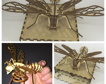 3d puzzle bee box, laser cut bee with box