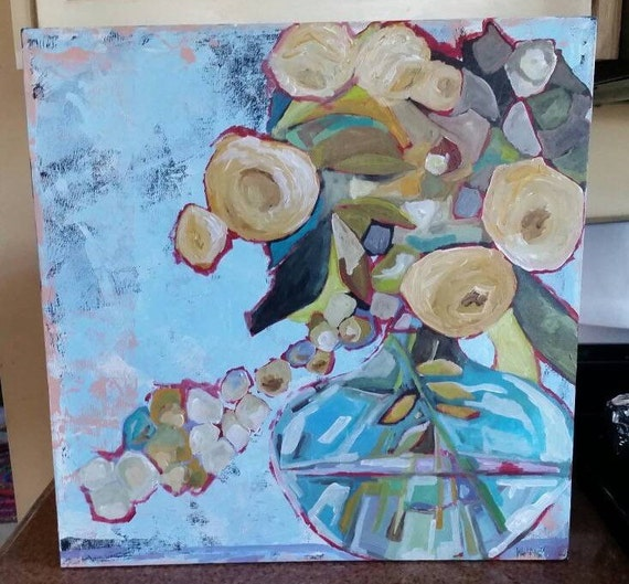 Wall Decor 20x20 : Flowers painting wall art home decor nature