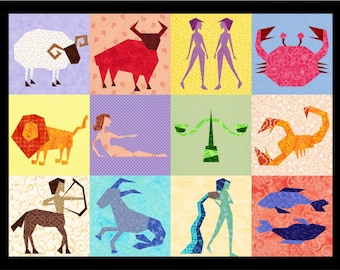 12 Astrological Quilt Block Patterns, Zodiac, Star Signs - Foundation Paper Piece Patch - PDF Download