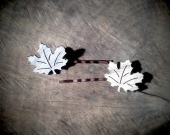 Woodland Leaf Bobby Pins for a Rustic Bride or Everyday! - Set of 2 Laser Cut Hair Pin Accessories