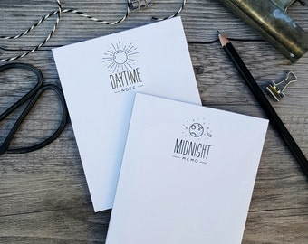 Night and Day Notepad Set of 2 - Handmade