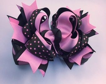 Hair bow, pink and brown hair bow, aged dot hair bow