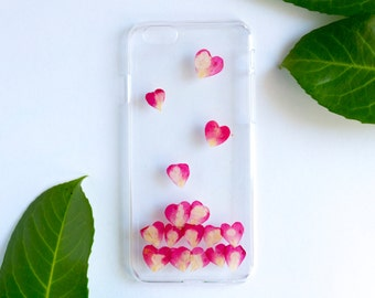 Pressed Flower iPhone Cases for iPhone 6/6S, Heart Rose Petal Rain, Real Flower Phone Case, Pressed Flower Phone Case, iPhone Case