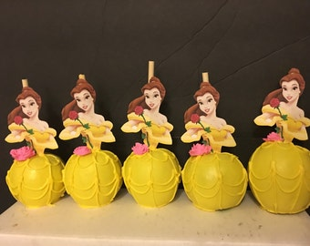 "12 chocolate beauty and the beast ""BELLE"" inspired apples"