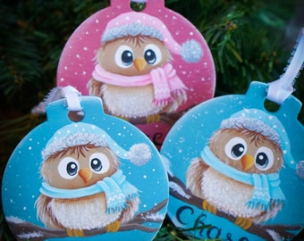 Handpainted Customized Baby Owl Christmas Ornament