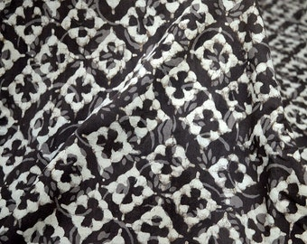 Dabu Block Printed cotton fabric, Hand Stamped Fabric, Soft Cotton Fabric in Brownish-grey Color sold by yard