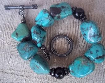Chunky Turquoise and Onyx Bracelet