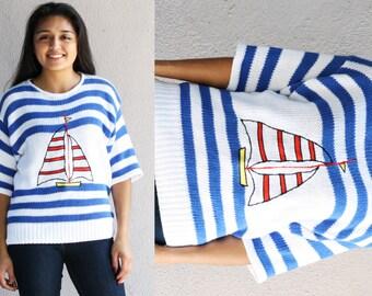 Retro Sailboat Striped Sweater