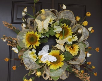 Spring Wreath - Yellow White Butterflies Sunflowers - Sunshine! - Great Mother's Day Gift!