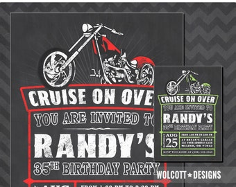 Motorcycle Birthday Invitation, Chopper Invitation, Harley Birthday Invitations, Motorcycle Invite, Harley Davidson, Biker Birthday Invite