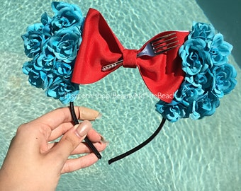 Ariel princess floral minnie ears with fork or without headband disney