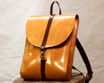 Hand stitched Leather Backpack with carbine closure - Laptop Backpack - Tablet backpack - Bicycle Backpack - Carbine Backpack