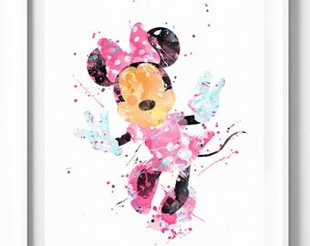 Disney Print, Minnie Mouse, Watercolor Art, Printable, Home Decor, Wall Art, Baby Nursery Decor, Kids Wall Decor, Girls Room Decor, Gifts