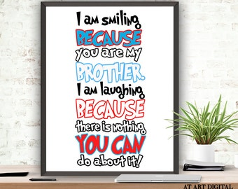 Brother Quotes Boys Room Decor Printable Quote Instant Download Nursery Wall Art Nursery Playroom Kids Room Children Room Brother Poster