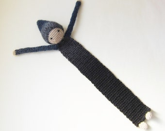 Book Buddy Little Gnome Bookmark - Midnight Ombre 1 - Crochet Amigurumi Gift, Toy, Finished Product