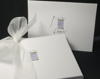 Sewing and Quilting Themed, Hand-Drawn & Painted Personalized White Note cards, 4 in x 5.5 inch with envelope