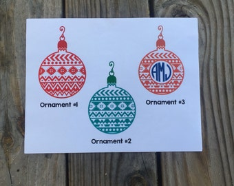 Christmas Ornament Iron-On Vinyl Decal~ Two Options~ Glitter Iron-On Vinyl Decal~ Iron-On Vinyl Decal