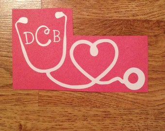 Stethoscope Monogram Vinyl Iron-On Decal~ Glitter Iron-On Vinyl Decal~ Iron-On Vinyl Decal~Nurse Iron-On Decal