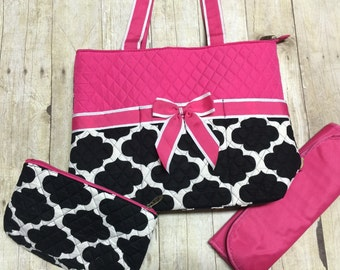 monogrammed diaper bag 3 piece set personalized black pink baby girl mummy bag