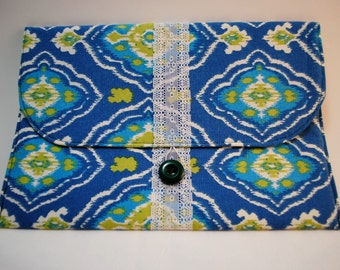 Envelope Clutch- Coupon Clutch - Ad Holder - Blue & Green