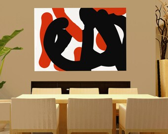 Large Wall Art ABSTRACT PAINTING Acrylic Wall Decor orange Abstract Canvas Painting Contemporary Art Home Decor Wall Hanging Artwork black