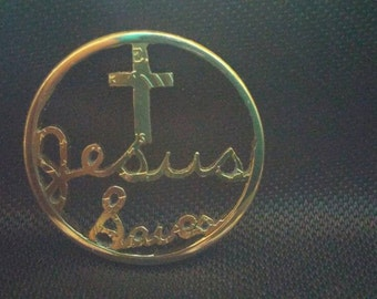JESUS SAVES cut coin