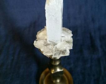 Crystal Home Decor // Selenite Crystal BRASS Candlestick // Healing White Selenite // Meditation Stone for Peace and Chakra Balance