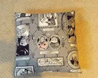 Ghastlie Portraits Alexander Henry Fabric Cushion/ Pillow 16 x 16 Gothic and Quirky