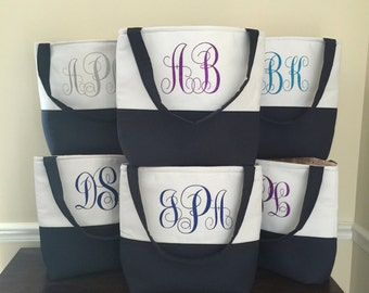 Set of  10 Monogrammed Tote Bag - Bridesmaid Tote Bag - Bridesmaid Bags - Personalized Tote Bags - Bridal Bags - Custom Tote Bags